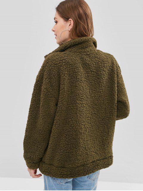 Manteau d'Hiver Zippé Fourré en Fausse Fourrure - Vert Armée  M Mobile