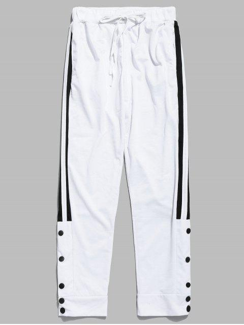 Pantalon de Jogging Rayé avec Bouton Pression - Blanc L Mobile