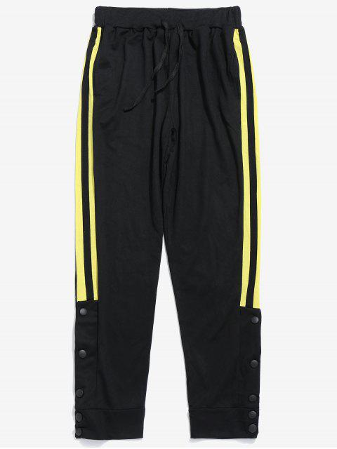 latest Snap Buttons Striped Jogger Pants - YELLOW S Mobile