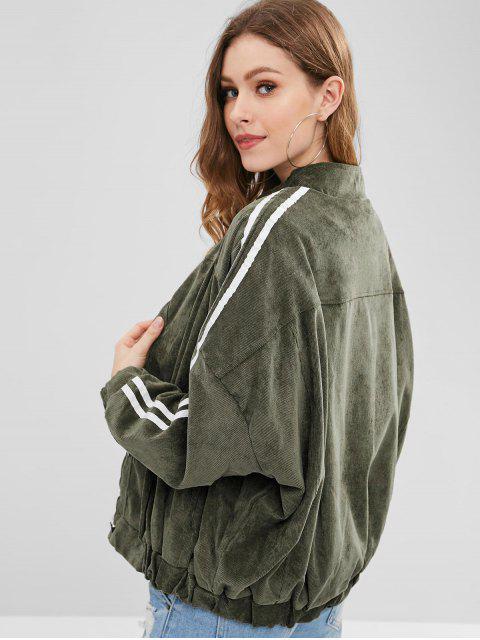 Veste Bouffante à Doublure en Fausse Fourrure en Velours Côtelé - Vert Sage Taille Unique Mobile