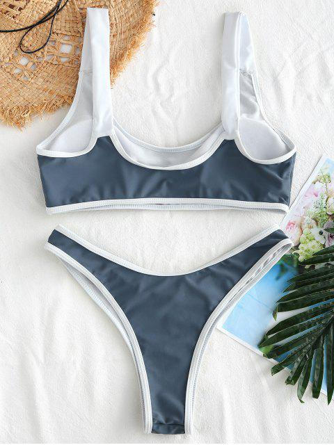 ZAFUL Ensemble de Bikini Embelli de Bouton à Ourlet Contrasté - Brume Bleue L Mobile