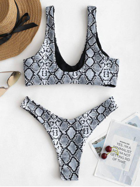 shop ZAFUL Snakeskin Animal Print Buckle Bikini Set - MULTI S Mobile