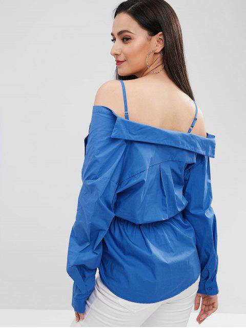 T-shirt Tordu Epaule Dénudée à Manches Longues - Bleu Taille Unique Mobile