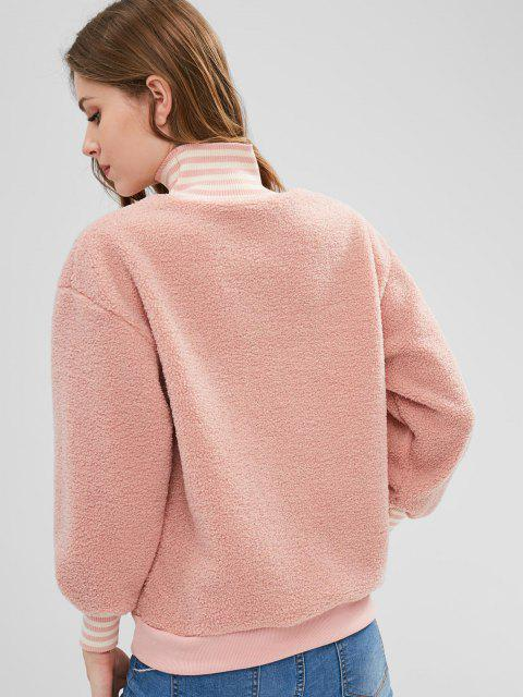 fashion Fleece Lining Embroidered Fluffy Pullover Sweatshirt - PINK S Mobile