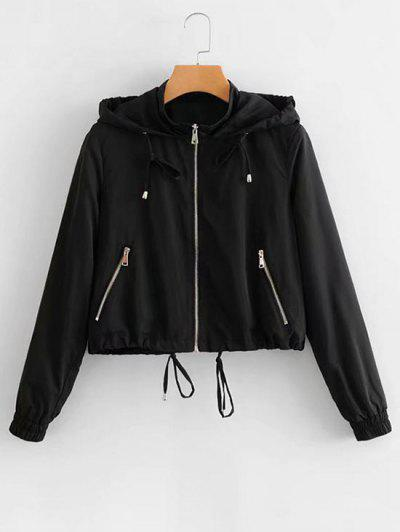 zaful Hooded Drawstring Zip Up Jacket