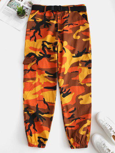 Camo Pocket Belted Jogger Pants - Orange M
