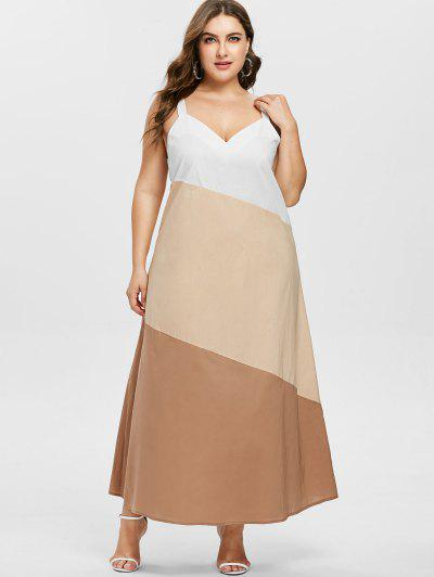 70d58b0cfdd Qonew Plus Size Sleeveless Contrast Dress - Blanched Almond L ...