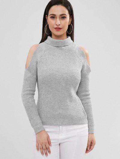 15ee586509e22c ZAFUL Pullover Turtleneck Cold Shoulder Sweater - Gray Cloud