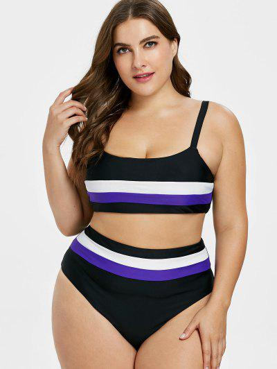 72db112315 ZAFUL Plus Size High Cut Striped Bikini - Black L ...