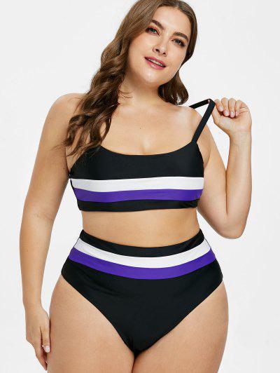 2bf0af70c467a ... ZAFUL Plus Size High Cut Striped Bikini - Black L