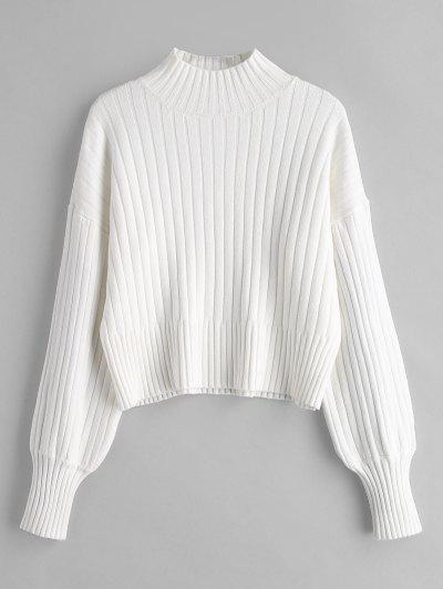 Dropped Shoulder Mock Neck Sweater - White