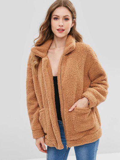 Zip Up Fluffy Faux Fur Winter Coat - Camel Brown Xl