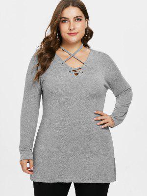 Lattice Plus Size Tunika Pullover