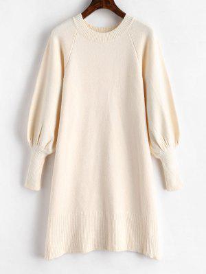 Laterne Ärmel Pullover Kleid