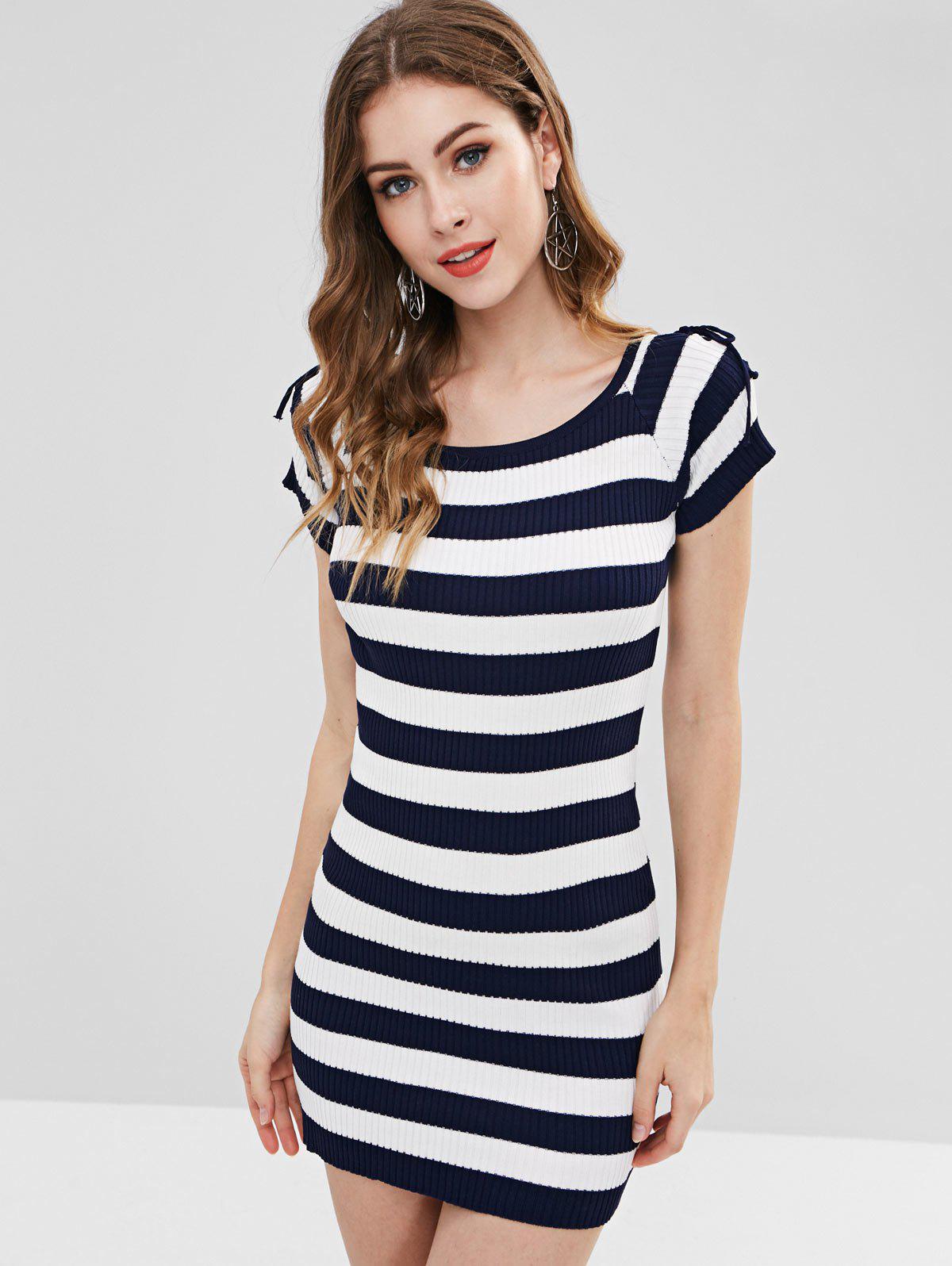 Striped Lace-up Knit Bodycon Dress, Multi