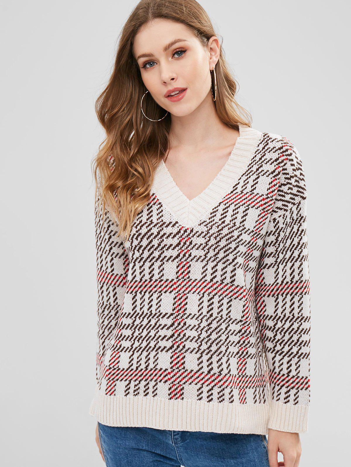 V Neck Jacquard Checked Sweater
