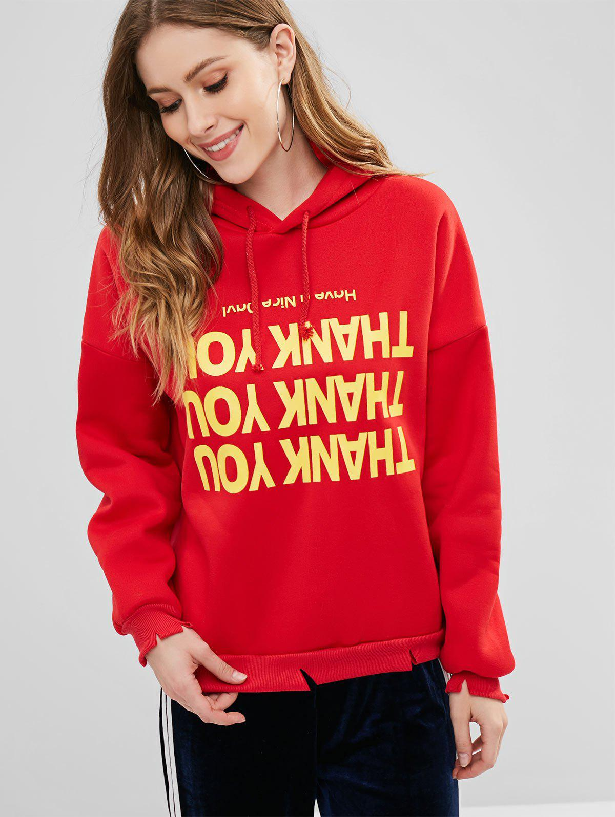 Fleece Lined Letter Graphic Pullover Hoodie