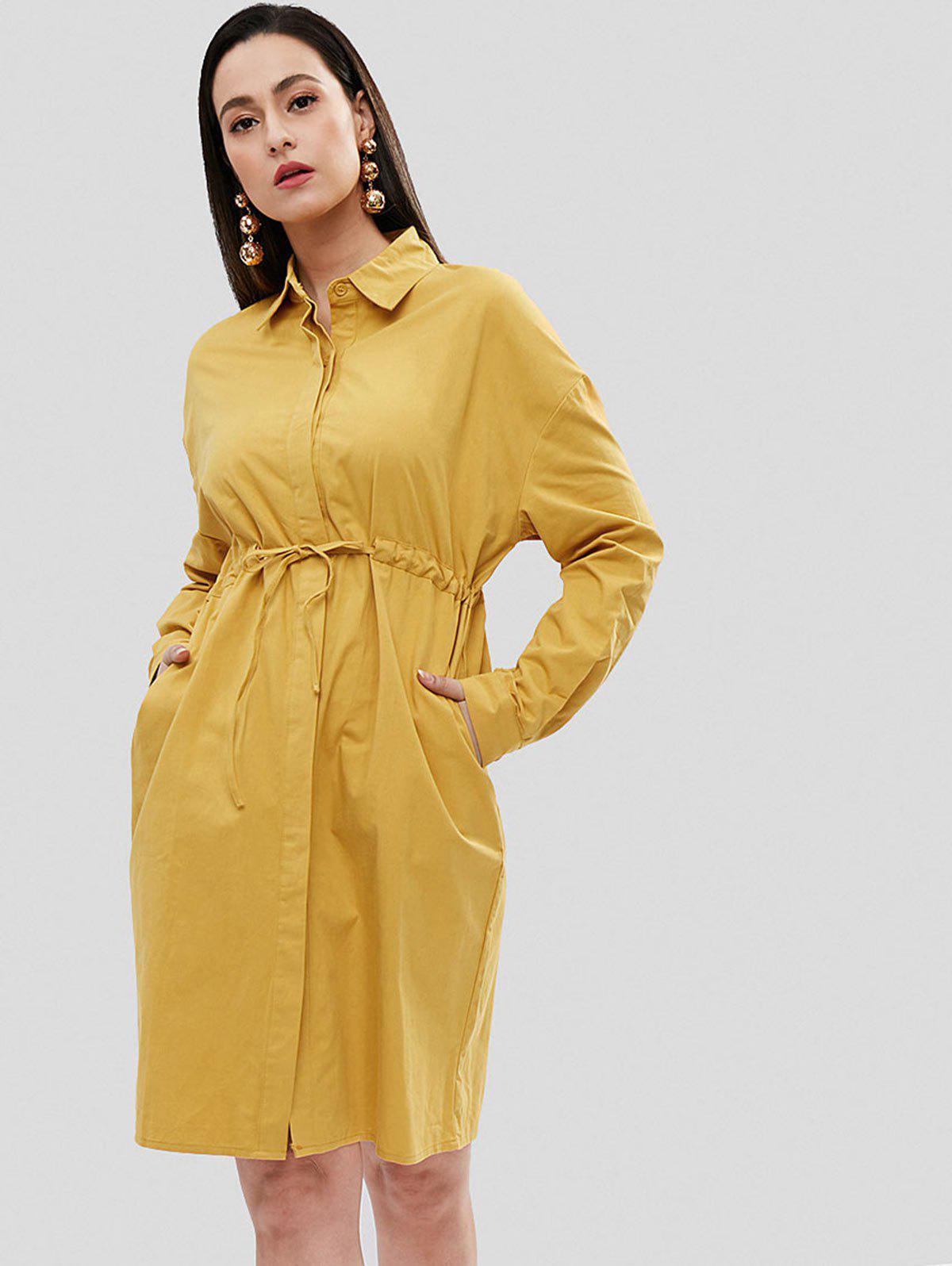 Waist Drawstring Shirt Dress, Golden brown