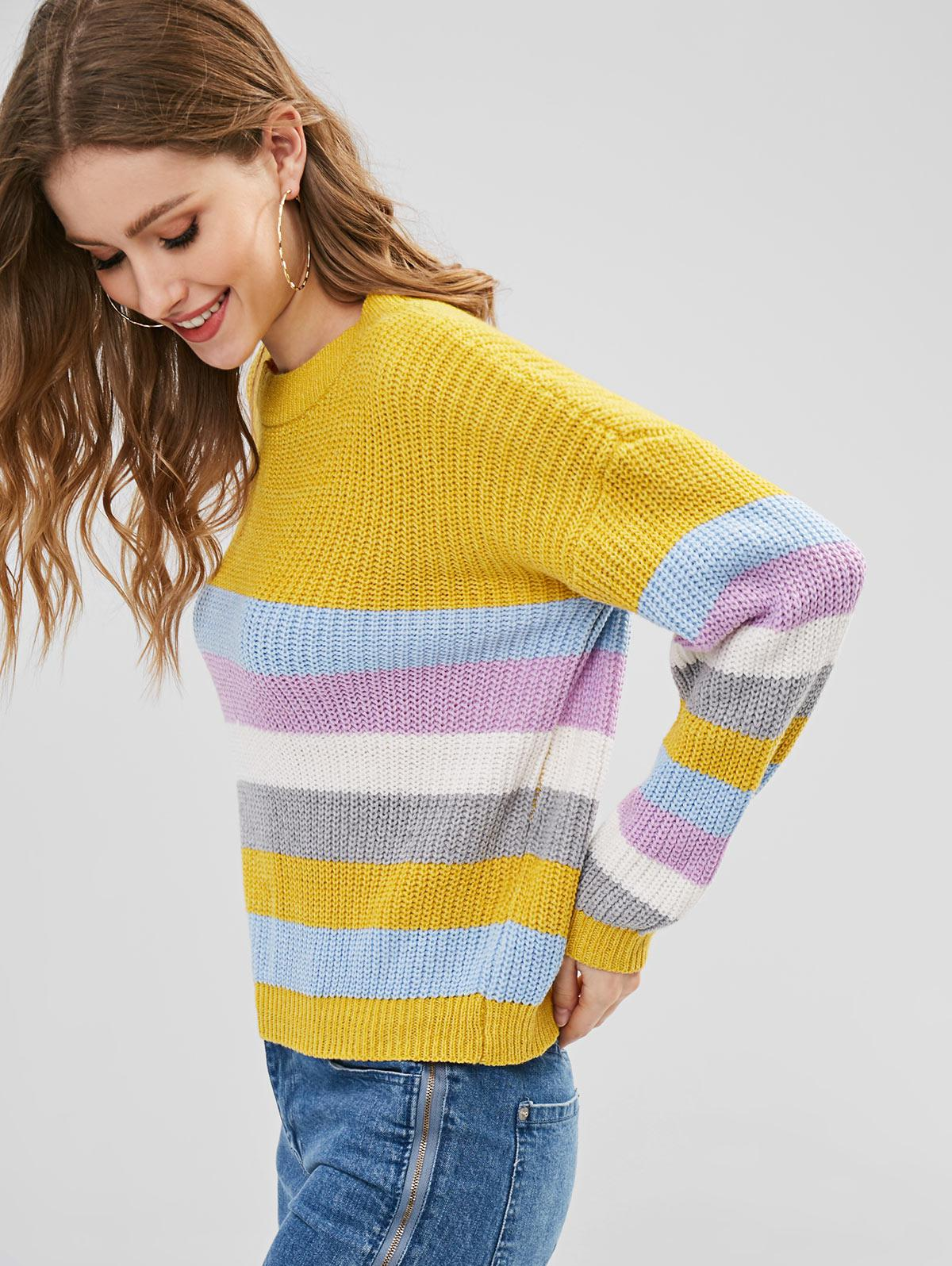 ZAFUL Pullover Colorful Stripes Sweater
