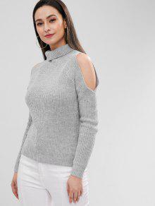 65% OFF  2019 ZAFUL Pullover Turtleneck Cold Shoulder Sweater In ... 29f90ecd0