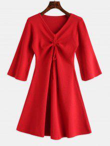 الخامس الرقبة Cinched التريكو اللباس - أحمر