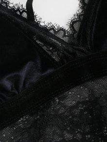 7e25cb0f91 29% OFF  2019 Strappy Velvet Lace Bra And Panty Set In BLACK L