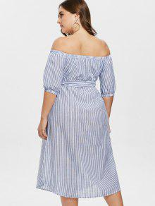 064c62bac41 27% OFF  2019 Embroidered Striped Plus Size Off Shoulder Dress In ...