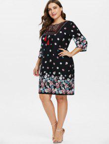 23% OFF] 2019 Plus Size Flower Peasant Dress In BLACK   ZAFUL