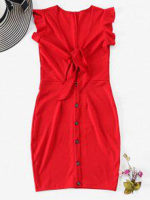 Tie Front Sleeveless Mini Dress - أحمر M