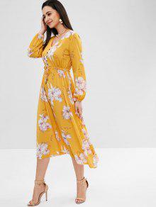 efdced3a0 23% OFF  2019 Vestido Midi Manga Longa Floral Com Amarelo