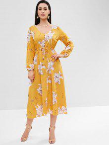الأزهار طويلة الأكمام اللباس ميدي - الأصفر S