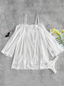 مجموعة الملابس الداخلية الدانتيل الاسود شير الأعلى واللباس الداخلي - أبيض