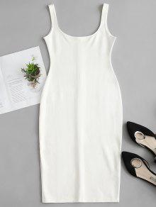 يو الرقبة اللباس رصاص خزان - أبيض L