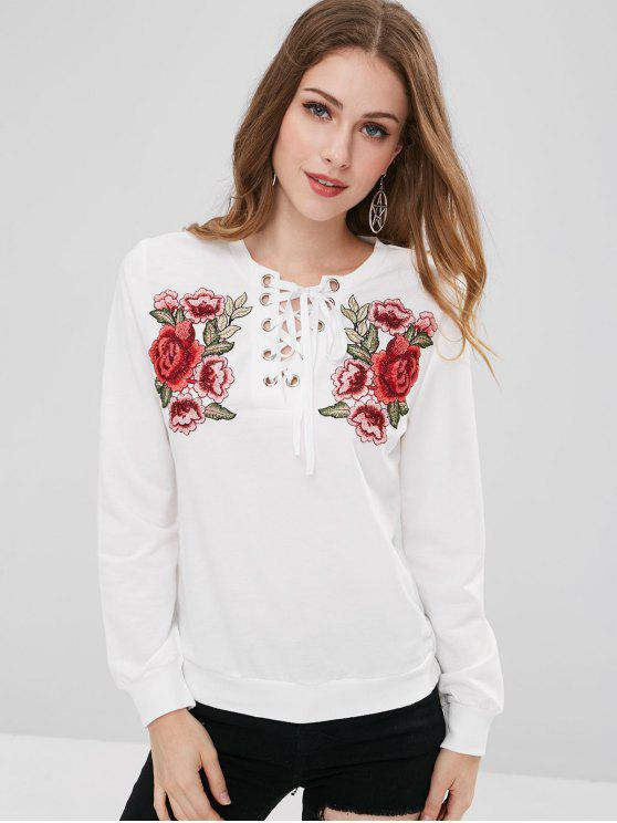 fancy Lace Up Front Floral Patched Sweatshirt - WHITE M