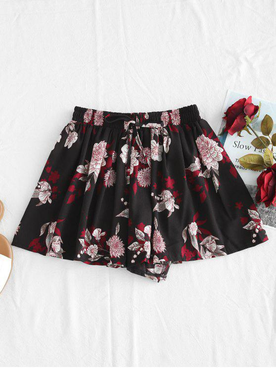 Pull On Floral Print Swingy Shorts - Negro 2XL