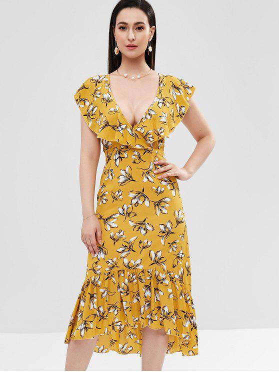 Blumen Rüschen High Low Kleid - Goldrute XL