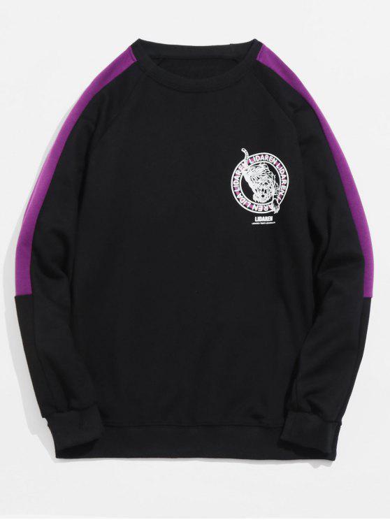Tiger-Druck-Hülsen-gestreiftes Sweatshirt - Schwarz M