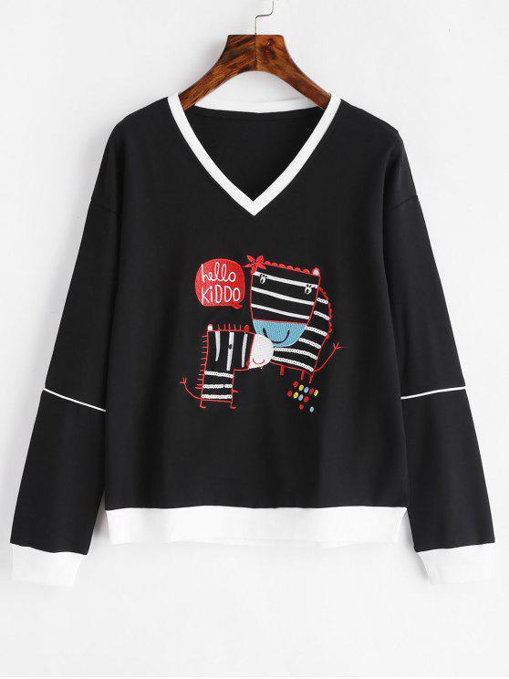shops Letter Embroidered V Neck Sweatshirt - BLACK XL