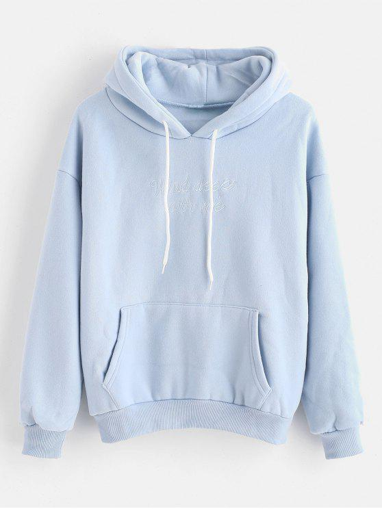 trendy Fleece Lining Letter Embroidered Hoodie - PASTEL BLUE ONE SIZE