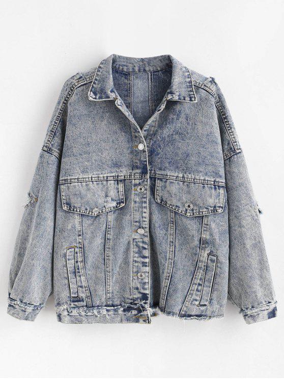 fashion Snow Wash Distressed Denim Jacket - JEANS BLUE M