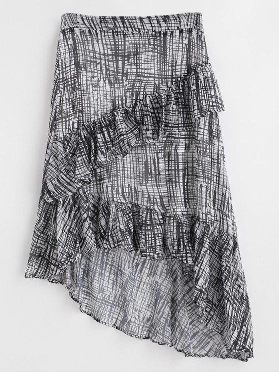 fancy Asymmetric Tiered Ruffles Maxi Skirt - BLACK S