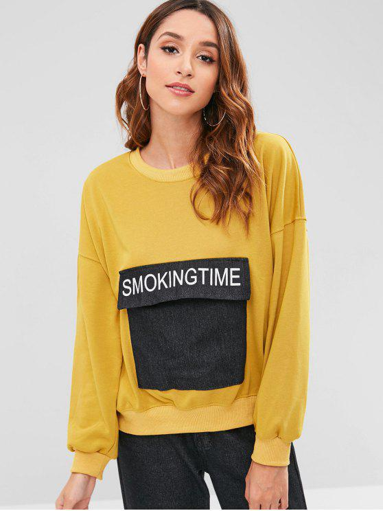 fashion Drop Shoulder Oversize Sweatshirt with Pockets - GOLDENROD ONE SIZE