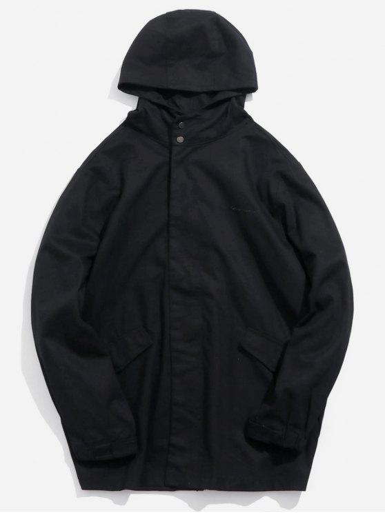shop Button Pocket Zip Up Hooded Coat - BLACK L