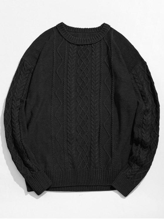 online Vintage Pattern Knit Sweater - BLACK L