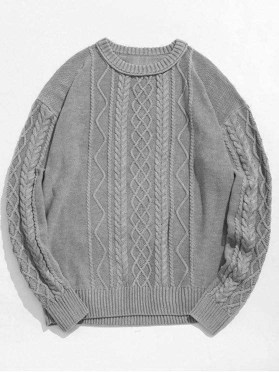 outfit Vintage Pattern Knit Sweater - GRAY GOOSE L