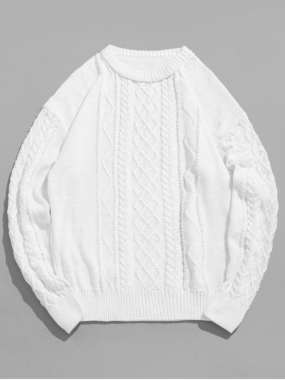 fashion Vintage Pattern Knit Sweater - MILK WHITE M
