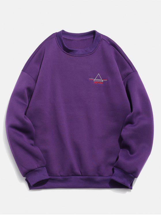 chic Embroidered Triangle Letter Fleece Sweatshirt - PURPLE XL