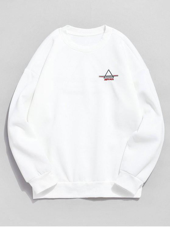 shops Embroidered Triangle Letter Fleece Sweatshirt - WHITE L