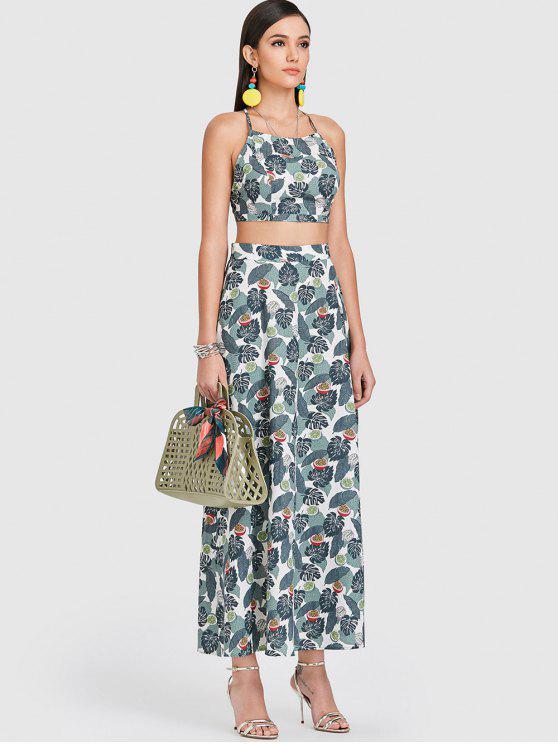 women's ZAFUL Leaf Crisscross Slit Two Piece Dress - SEA TURTLE GREEN L
