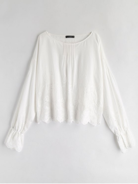 lady ZAFUL Flower Eyelet Scalloped Blouse - WHITE S